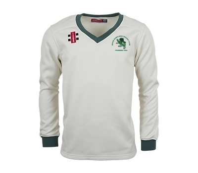 Devon Dumplings Cricket Club GN L/S Fleece Jumper Green Trim