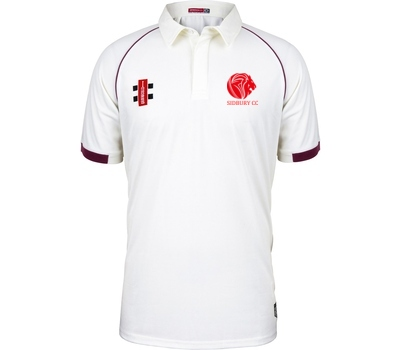 Sidbury CC GN Short Sleeve Playing Shirt Maroon Trim
