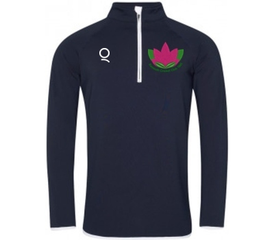Qdos Cricket Exmouth CC 1/4 Zip Navy Long Sleeve Top